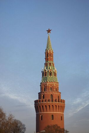 Kind on one of towers kremlin on a decline