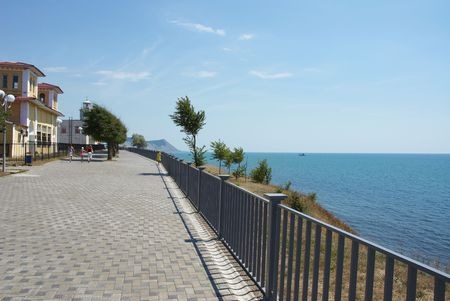 Kind on sea quay in the city of Anapa