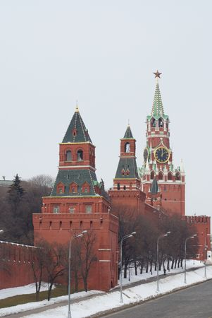 Three towers of the Russian fortress kremlin