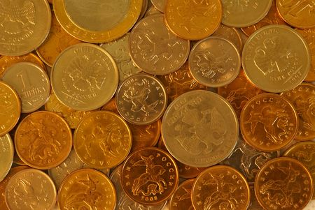 Close up of group of coins from yellow and white metal Stock Photo - 5575637