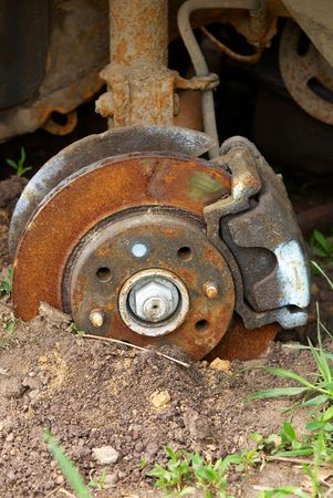 Close up of an old automobile brake disk Stock Photo - 5575640