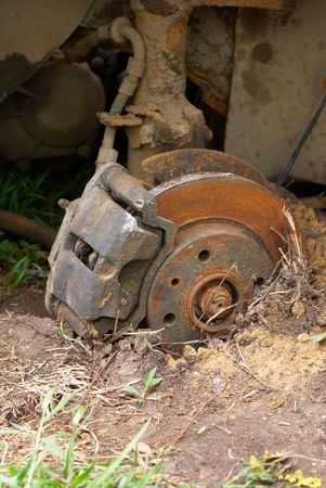 Close up of an old automobile brake disk Stock Photo