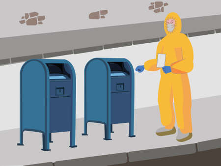 A person in a yellow protective overalls, mask, gloves and shoe covers standing with an envelope in hand next to mailboxes. Image of sending a letter during a pandemic, quarantine, remote voting by ma
