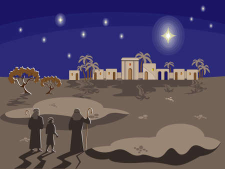 Christmas biblical scene with shepherds standing in historical costumes at night and looking at a star over the city of Bethlehem, palms, figs and stars against the dark sky. Greeting card, banner. Ilustrace