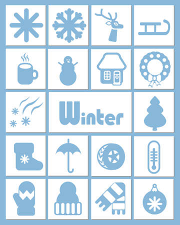 A set of white and blue icons in a simple, flat style on winter themes of weather, nature, clothes and holidays.