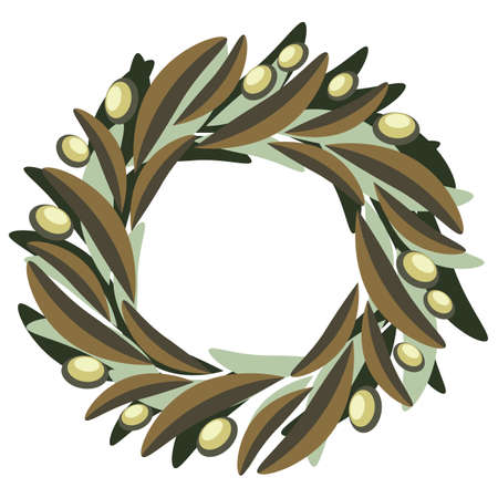 Floral composition olive wreath of olive leaves with green fruits in olive tones. Simple flat full color image. Expresses peace, fertility, blessing for the holiday, congratulations, weddings, Christmas, restaurant, food and medicinal plant.