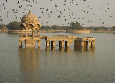 sagar: Building in the Gadi Sagar Lake