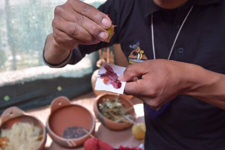 weavers: Traditional weavers in Peru use dyes from plants and foods