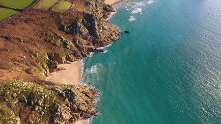 Beautiful coastline from above in Porthcurno, Cornwall, England Stock Photo