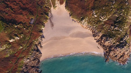 Beautiful Beach from above in Porthcurno, Cornwall, England