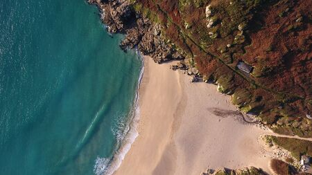 Porthcurno Sandy Beach in Cornwall from above