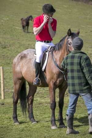 Handsome horse rider on horse in green field with other horse  in background with trainer in foreground Stock Photo