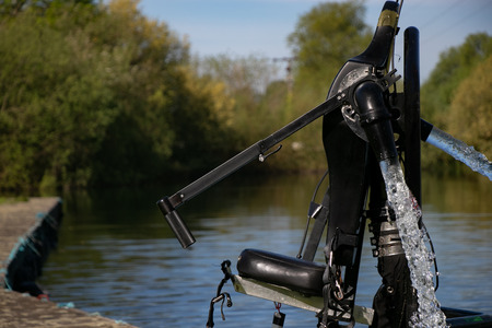 Thriller seekers jet pack for jet lev or jet levitation waits by the lakeside. Stock Photo