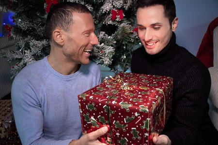 Happy male gay couple exchanging christmas gift in front of tree with red ribbons Stock Photo