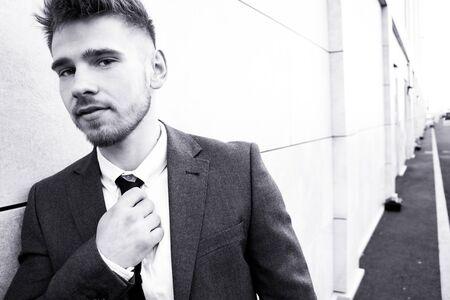 Portrait of handsome man wearing tie and jacket. 写真素材