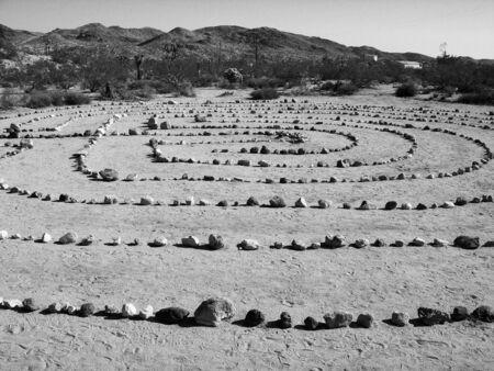 Zen Rock Garden in the Desert BW Banco de Imagens
