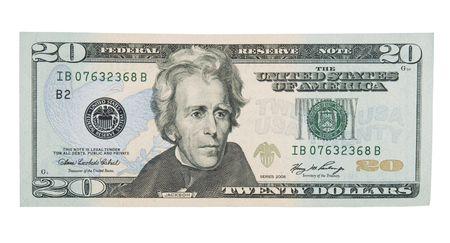 20: 20 Dollar Bill Frente Foto de archivo