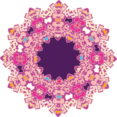 Richly colored flat color ornament with western fancy feel and vibe