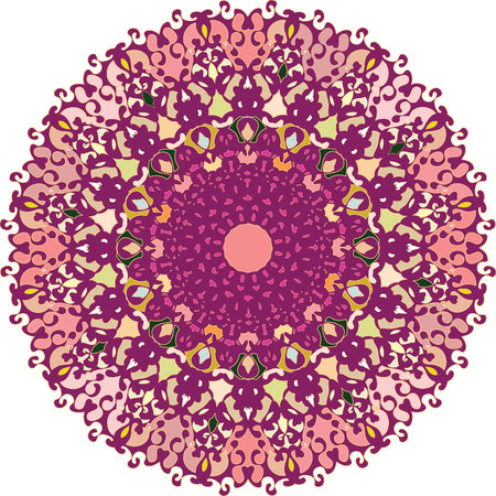 rotational: An ornament richly dressed with fine forms in flat colors