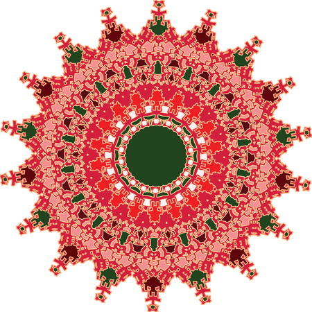 Ornament with decorative fine forms and shades of red predominating
