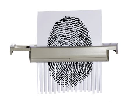Fingerprint being shredded.  Metaphor for identity protection.