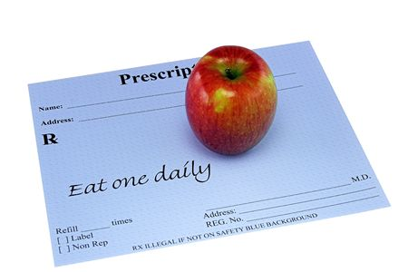 An apple on a doctors prescription.  Prescriptions says Eat One Daily.  Metaphor for healthy eating.