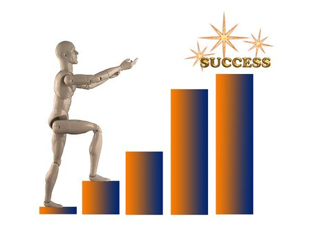 Mannequin climbing a chart reaching for the word Success.