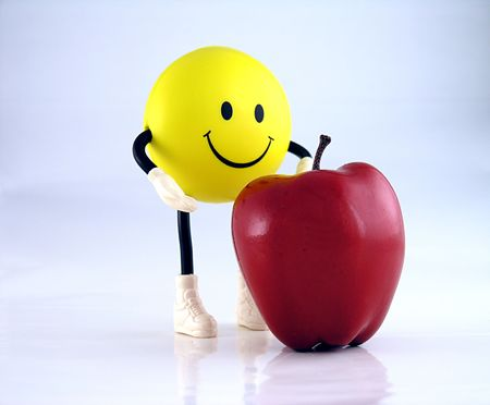 smirk: Smiley face guy and apple