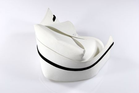 nurse cap: Infermiere  's unico cappello nero con striscia.  Archivio Fotografico