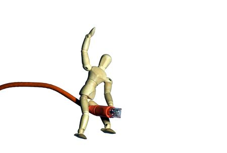 troubleshoot: Mannequin riding a network cable.  Metaphorconcept for surfing the web, taming a network, etc. Stock Photo
