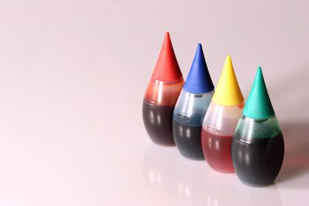 Four bottles of food coloring. photo