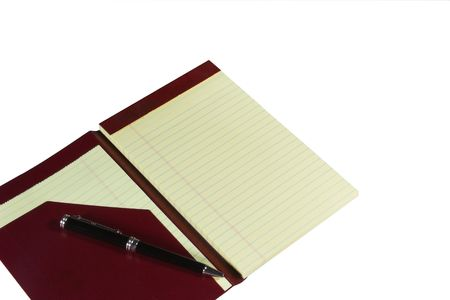 shorthand: Yellow lined notepad isolated on white.