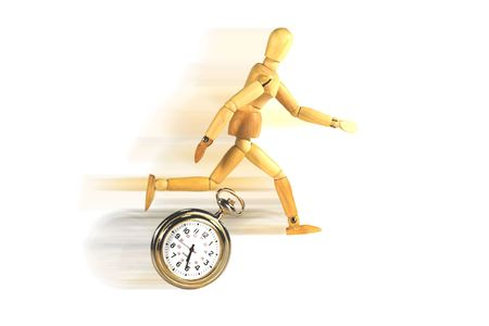 Mannequin racing against a clock.  Metaphor for deadline, crisis, critical, etc.  White background with motion blur.