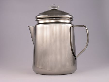 percolate: Stainless steel camping coffee pot.