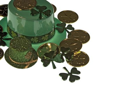 green tophat: Hats, clovers, and coins.