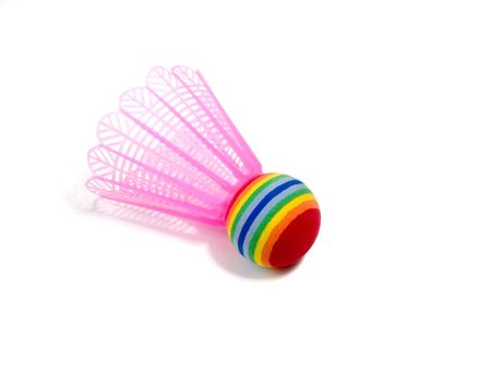Colorful shuttlecock isolated on white. Stock Photo