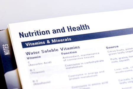 dayplanner: Page from a dayplanner showing the functions and dietary sources for vitamins and minerals.