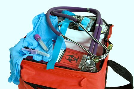 tourniquet: Blood drawing kit for home care use.  Includes rubber gloves, tourniquet, tubes, sharps container, etc.