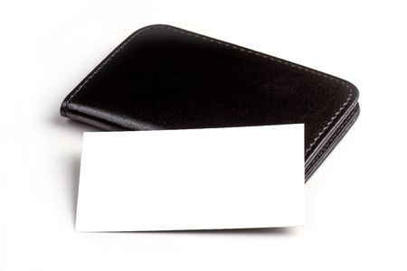 Black leather business card wallet with a blank business card.
