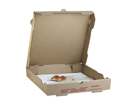 Open pizza box showing one small piece of pizza remaining.  Brown cardboard box isolated on white.  Checkboxes on the side for the selected toppings.