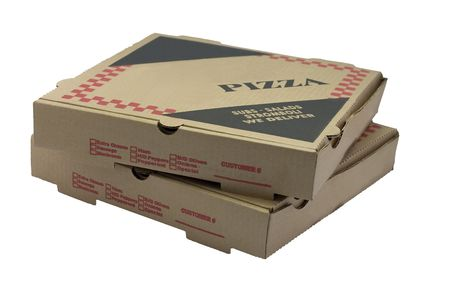 Two stacked pizza boxes.  Brown cardboard isolated on white. photo