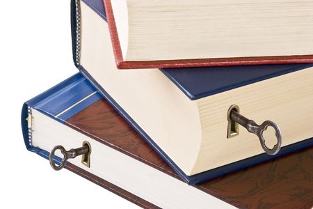 hardback: Knowledge is the key to success.  Three hardback books with keyholes and skeleton keys.  Conceptual image for unlocking the power within.  Isolated on white.
