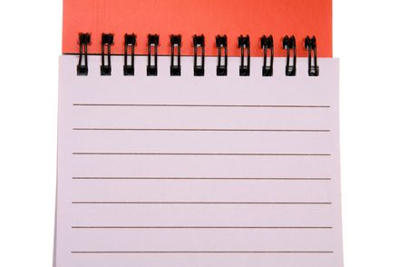 Spiral bound notepad.  Spiral binding is on the top.  Isolated on white. Stock Photo - 3803759
