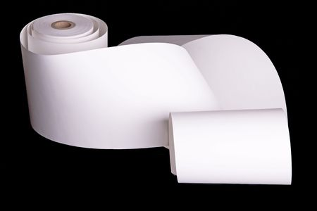 Adding machine tape partially unrolled and ready for your text.  Isolated on black. Stock Photo - 4128325