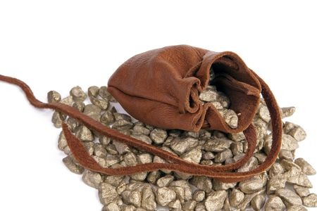 pouch: An open leather pouch of gold resting on a pile of nuggets.