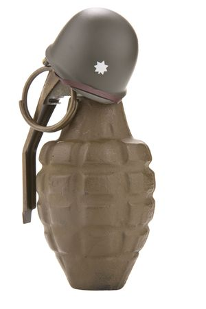 major battle: Dummy hand grenade wearing the helmet of a U.S. Army officer.  Isolated on white. Stock Photo
