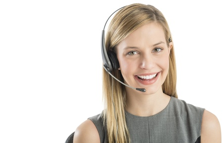 Close-up portrait of confident female customer service representative wearing headset isolated over white background Standard-Bild