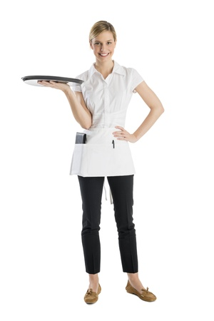 Full length of beautiful waitress with serving tray standing isolated against white background photo