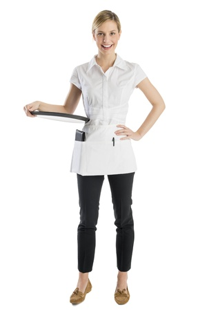 serving tray: Full length portrait of happy waitress with serving tray standing against white background