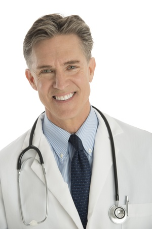 Close-up portrait of confident male doctor isolated over white background photo